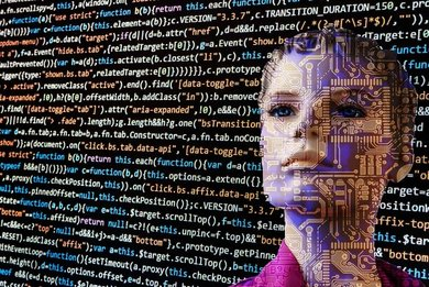 decorative image showing a woman's face with digital elements on it in front of source code